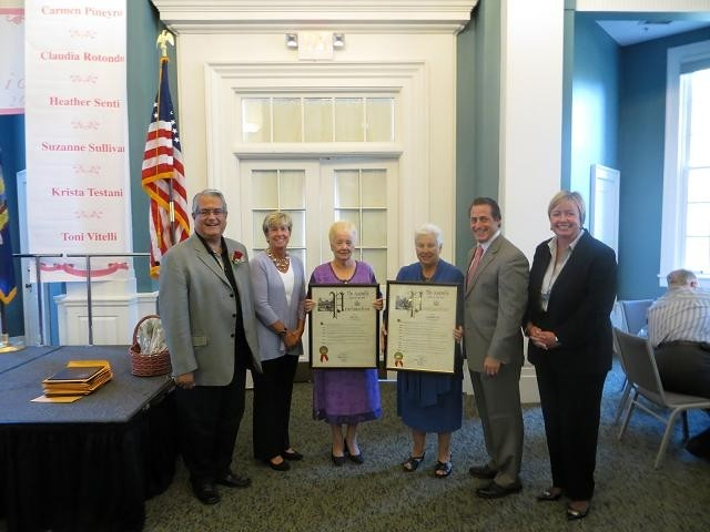 Councilman Anthony Santino, left, Mayor Patti McDonald, honorees Sheila Norris and Marie-Antoinette Vitelli, Assemblyman Brian Curran and Supervisor Kate Murray.
