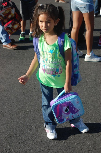 Gabrielle Cabitac was well prepared for her first day of second grade at the Shaw Avenue School on Sept. 4.