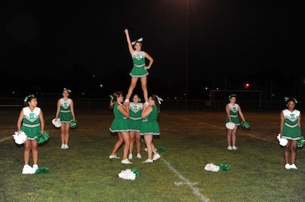 Varsity Cheerleaders gave a spirited performance to get players and fans excited for the season.