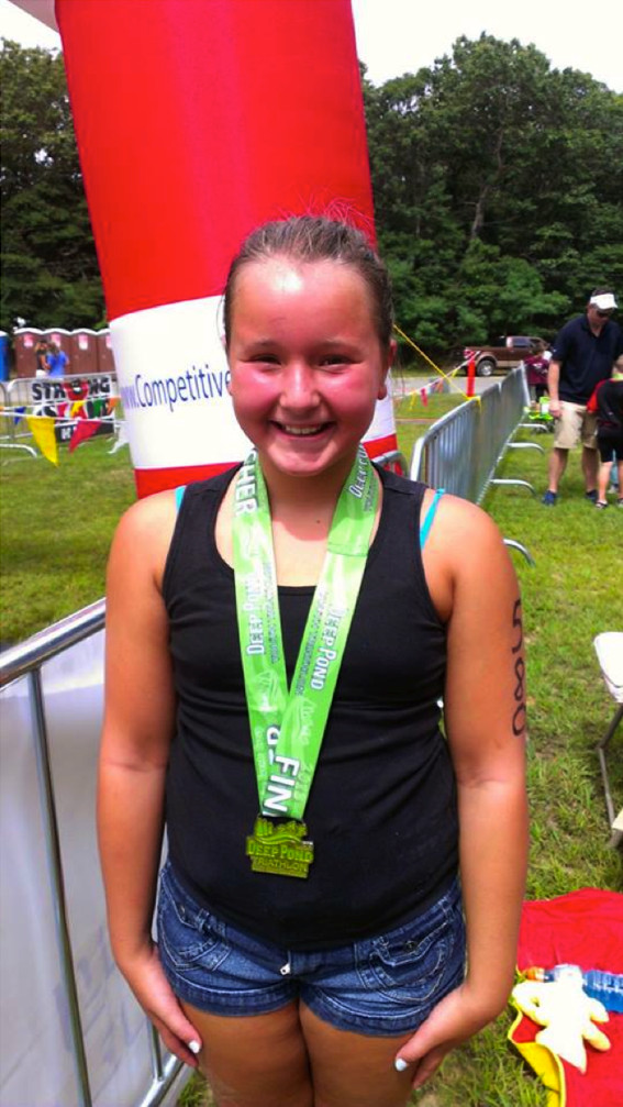 On. Aug. 18, Anabelle Ciampi, 10, a fifth grader at Parkway Elementary School, completed the Deep Pond Junior Triathlon in Wading River for the second straight year. She ran in memory of her uncle, Brian Ciampi, who died on Feb. 22 after losing his battle with colon cancer.