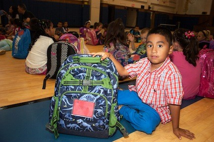 Andrew Vidal-Celestino is so happy to show off his new backpack for school. Andrew will be in Mrs. Reid's kindergarten class.