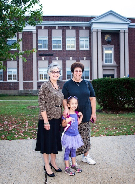 Superintendent of Schools Rosmarie T. Bovino with Makayli Salberg who is starting 1st grade and her Mom, Nachelle.