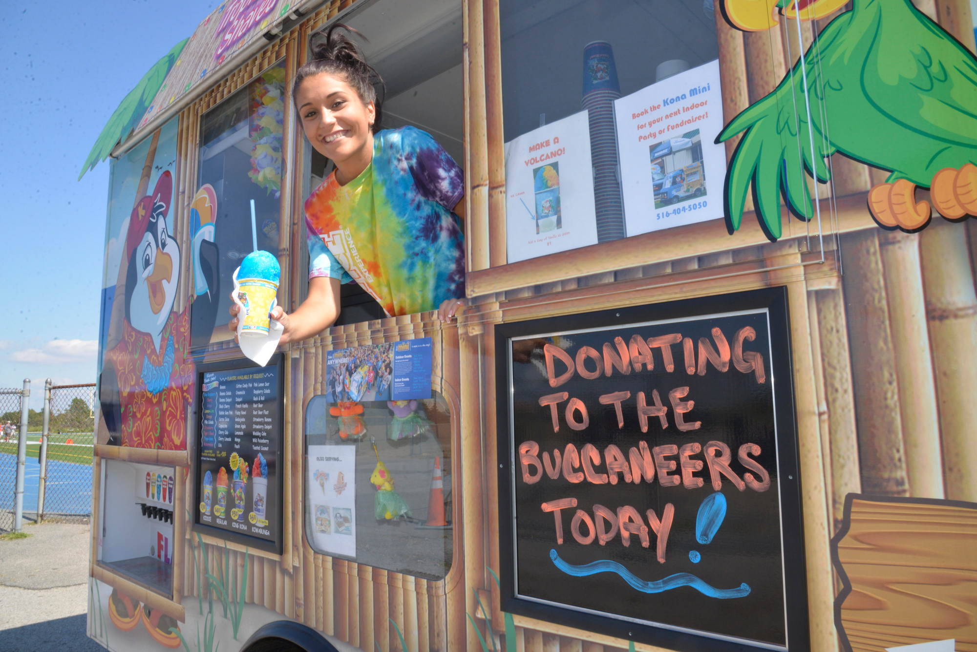 Kona Ice donated its proceeds from the day's sales to the to Inwood Buccaneers. Jenna Maldonado served up a refreshing ice treat.