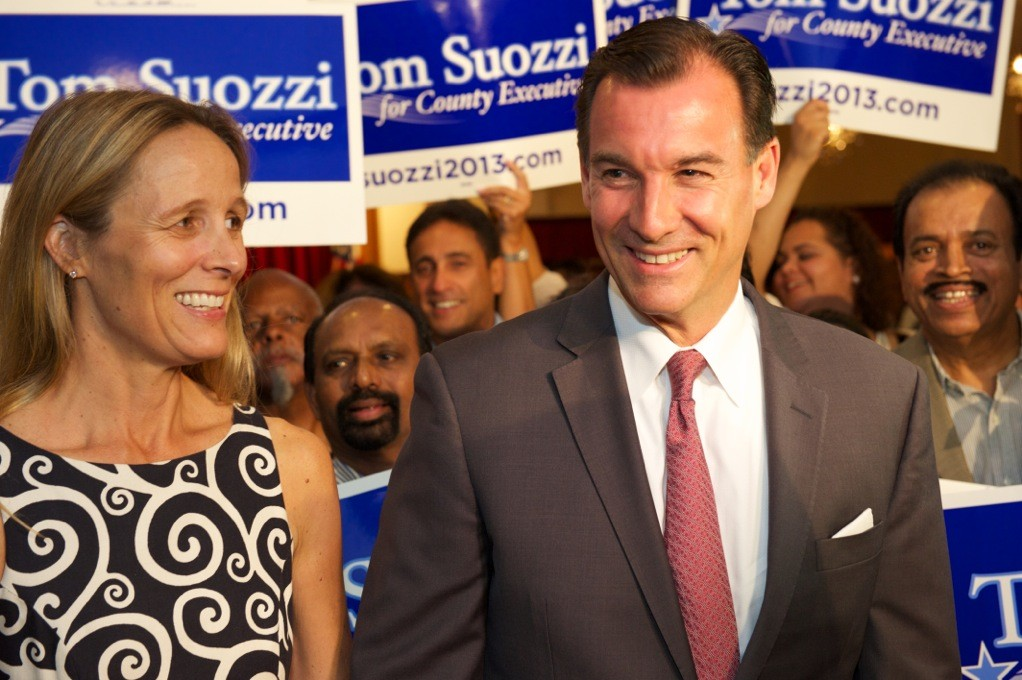 Tom Suozzi was joined by his wife, Helene, to celebrate his victory in the Democratic primary on Sept. 10.