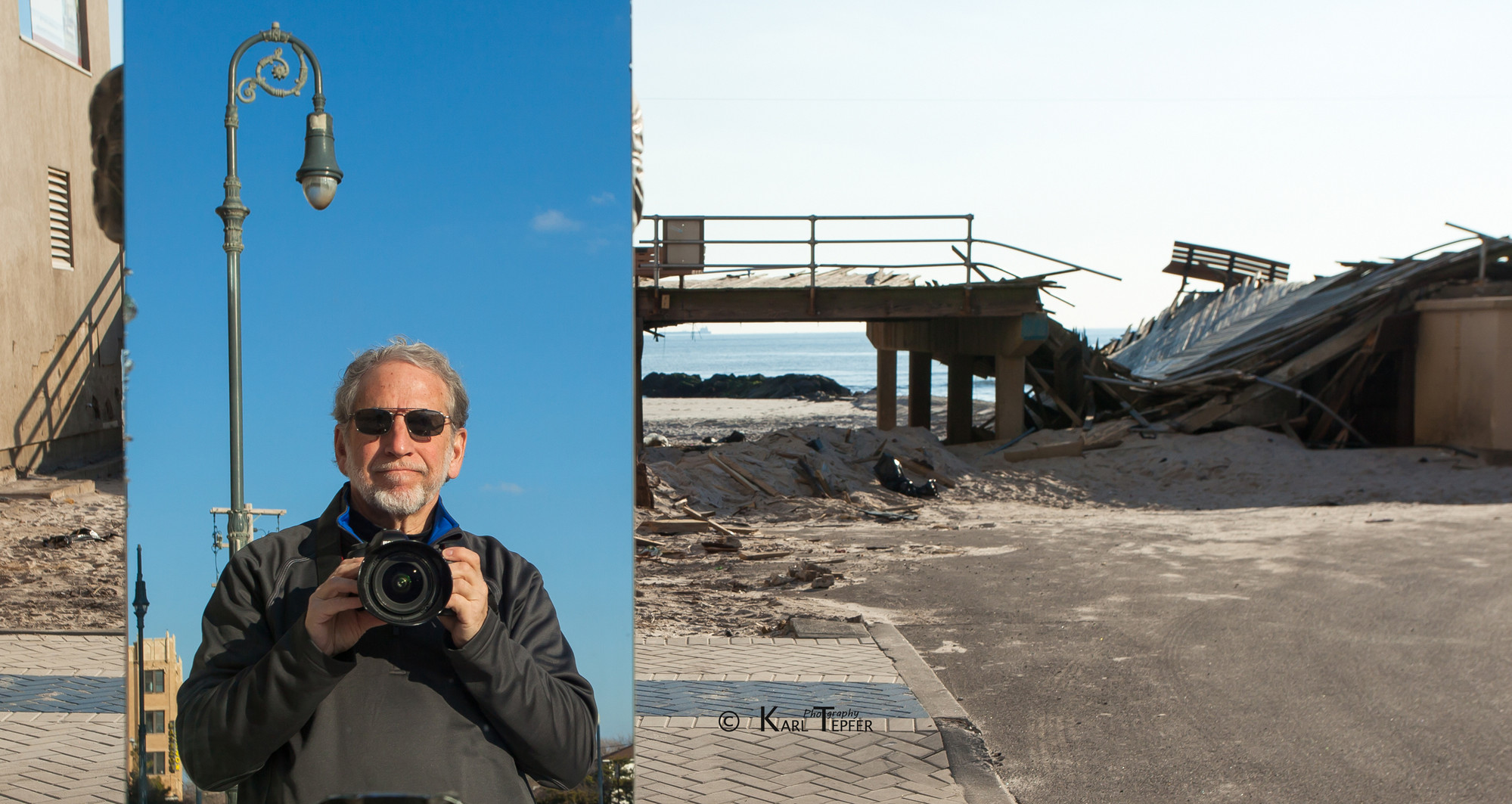 Bellmorite Karl Tepfer, in a self-portrait taken in a mirror by the Long Beach boardwalk after Hurricane Sandy destroyed it, is pursuing a photography career in his retirement from school psychology.