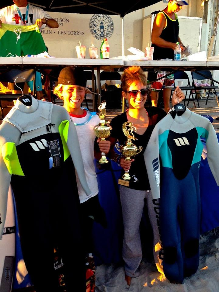 Jared Bono and Erin Kohler won the King and Queen of the Beach surfing contest last Sunday.