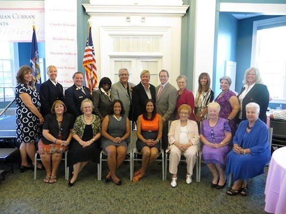 Assemblyman Brian Curran hosted his annual Women of Distinction luncheon: Pictured were, from back row left: Kimberly Garrity, Kim McNally, Heather Senti, Councilwoman Goodsby, Councilman Anthony Santino, Town Hempstead Supervisor Kate Murray, Assemblyman Brian Curran, Sister Ruthanne Gypalo, Krista Testani, Claudia Rotondo, Suzanne Sullivan. Seated in the front row were, from left: Jane Grogan, Barbara Barnhart, Carmen Pineyro, Colette Carrion, Edyth DeBaun, Sheila Norris and Marie-Antoinette Vitelli.