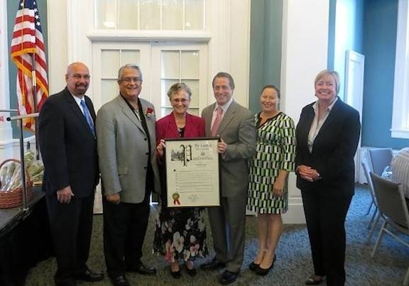 East Rockaway Mayor Francis Lenahan, left, congratulated Gypalo. Also pictured were Santino, Sister Ruthanne Gypalo, Curran, Village of East Rockaway Trustee Theresa Gaffney, and Murray.