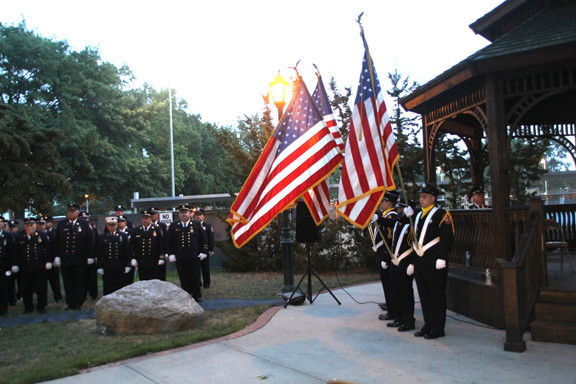 The East Meadow Fire Department hosted a candlelight vigil Wednesday night in Veterans Memorial Town Square to remember all those who died on Sept. 11.