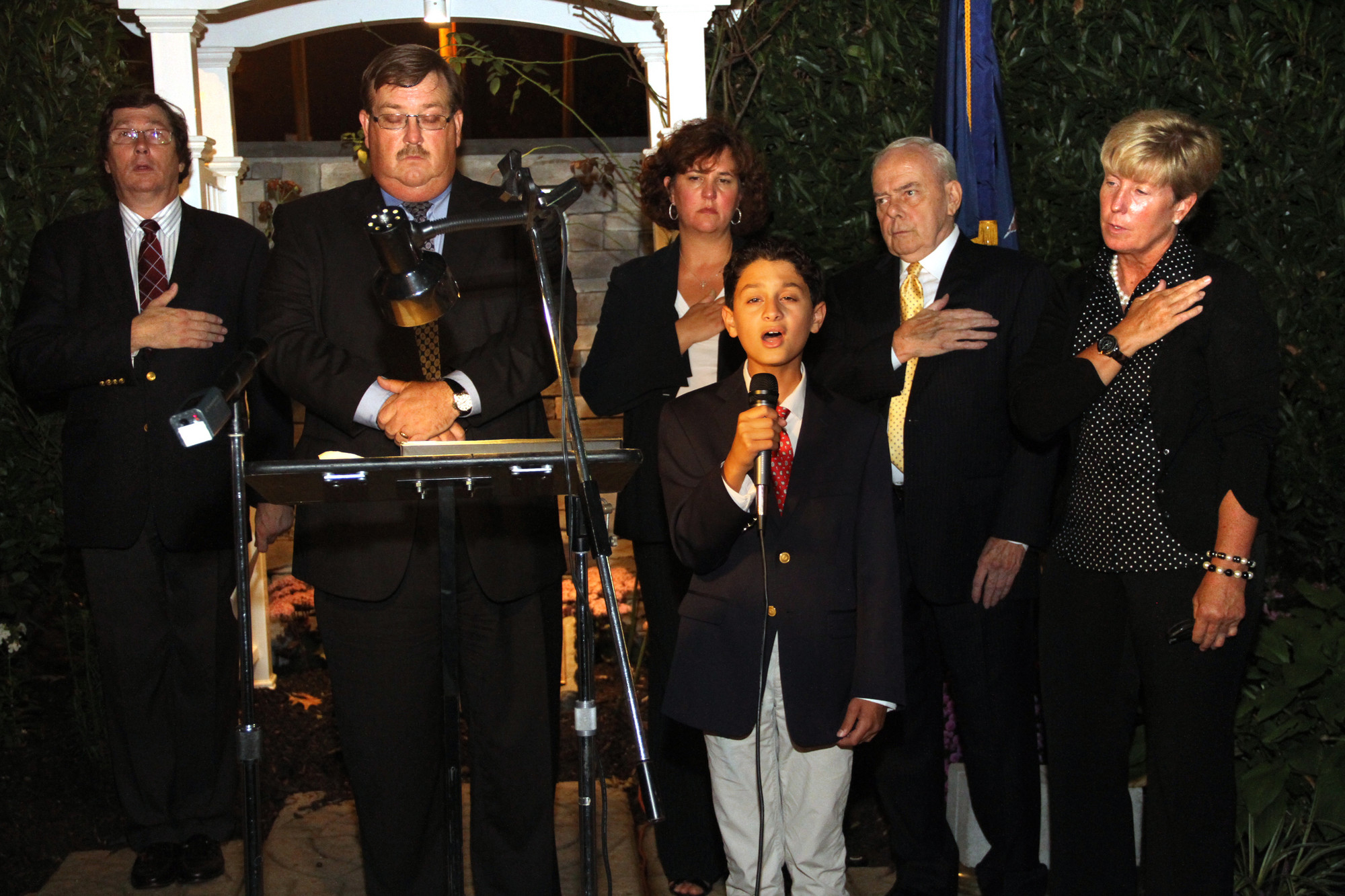 Malverne resident Benjamin Truncale sang the national anthem at this year's ceremony.