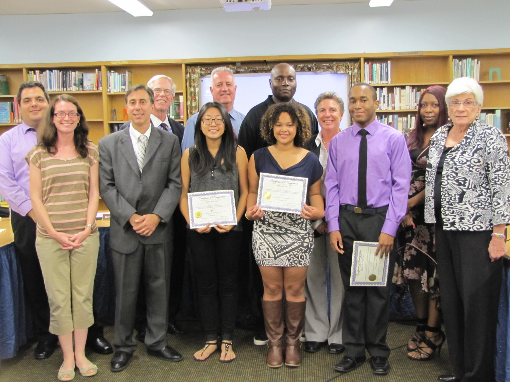 Tyson, Egan and Stewart were honored by Superintendent Dr. James Hunderfund, music department staff and members of the Board of Education at the Sept. 10 Board meeting.
