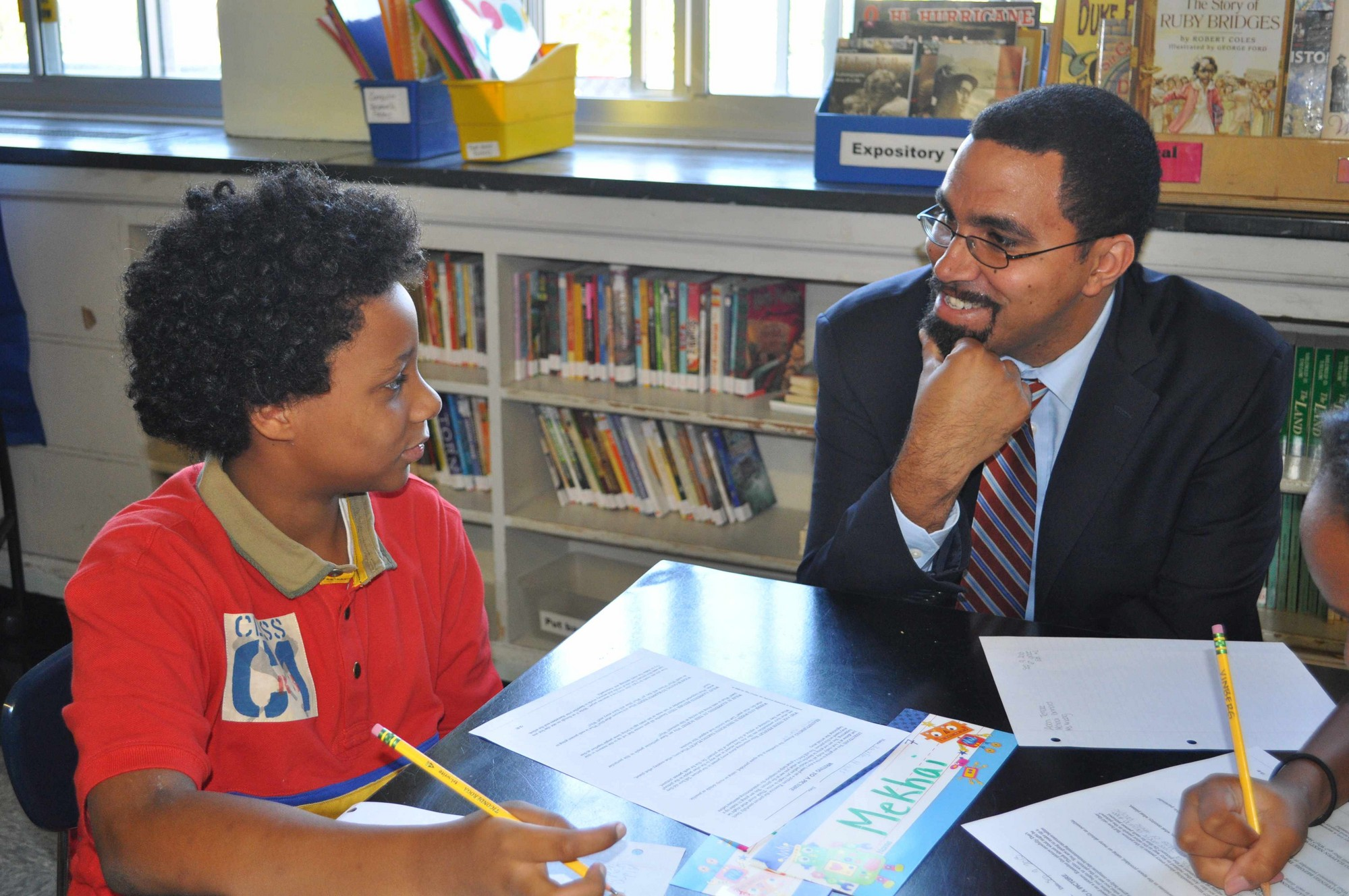 Alden Terrace School sixth-grader Jaylin Hinds happily spoke to State Commissioner of Education Dr. John B. King Jr. on Sept. 9.