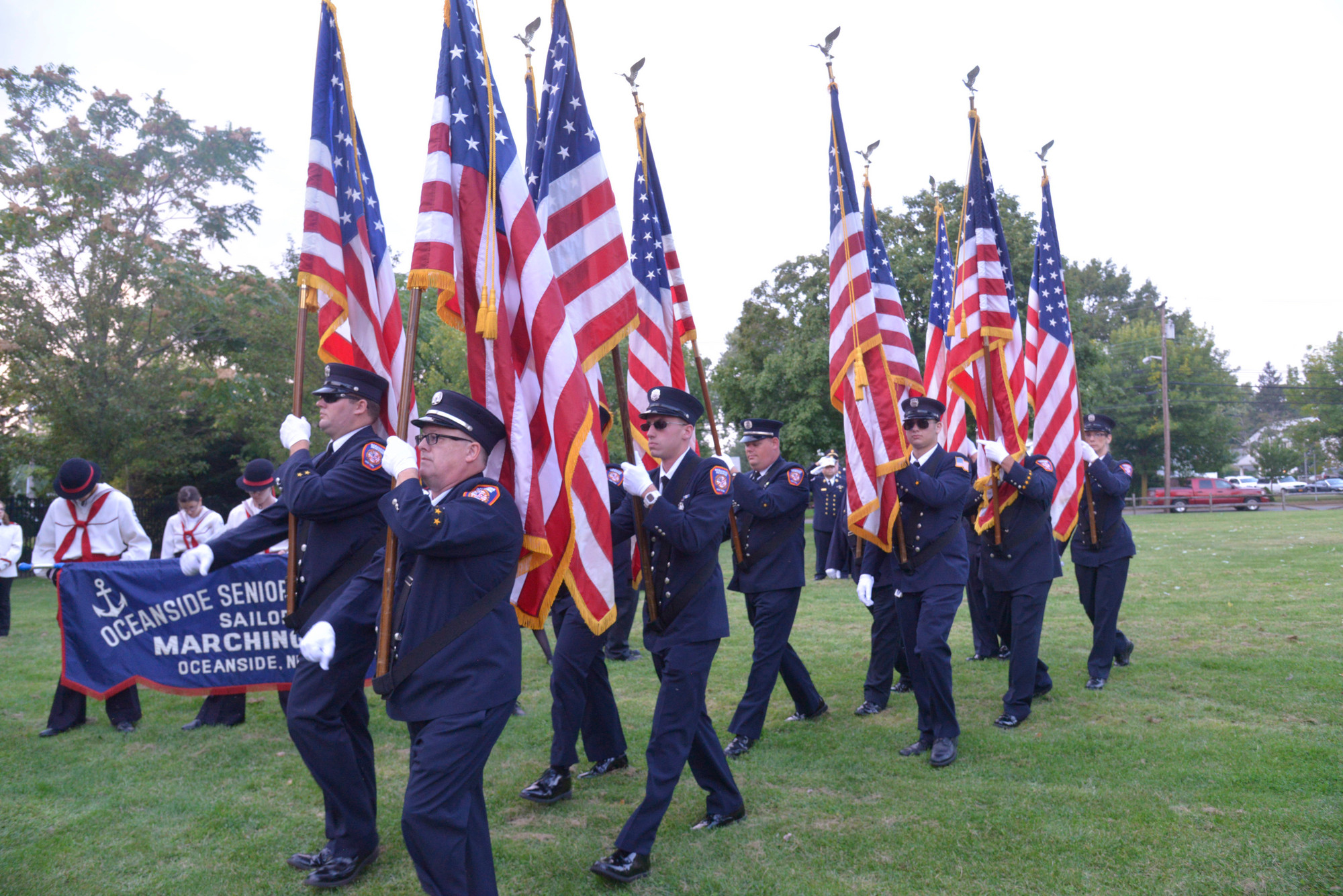 The Oceanside Fire Department led off the Sept. 11 memorial ceremony at School House Green on Wednesday.