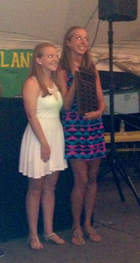 Christine Beaudet, right, accepted her award alongside Caitlin Schwagerl, the Volunteer of the Year for 2012.