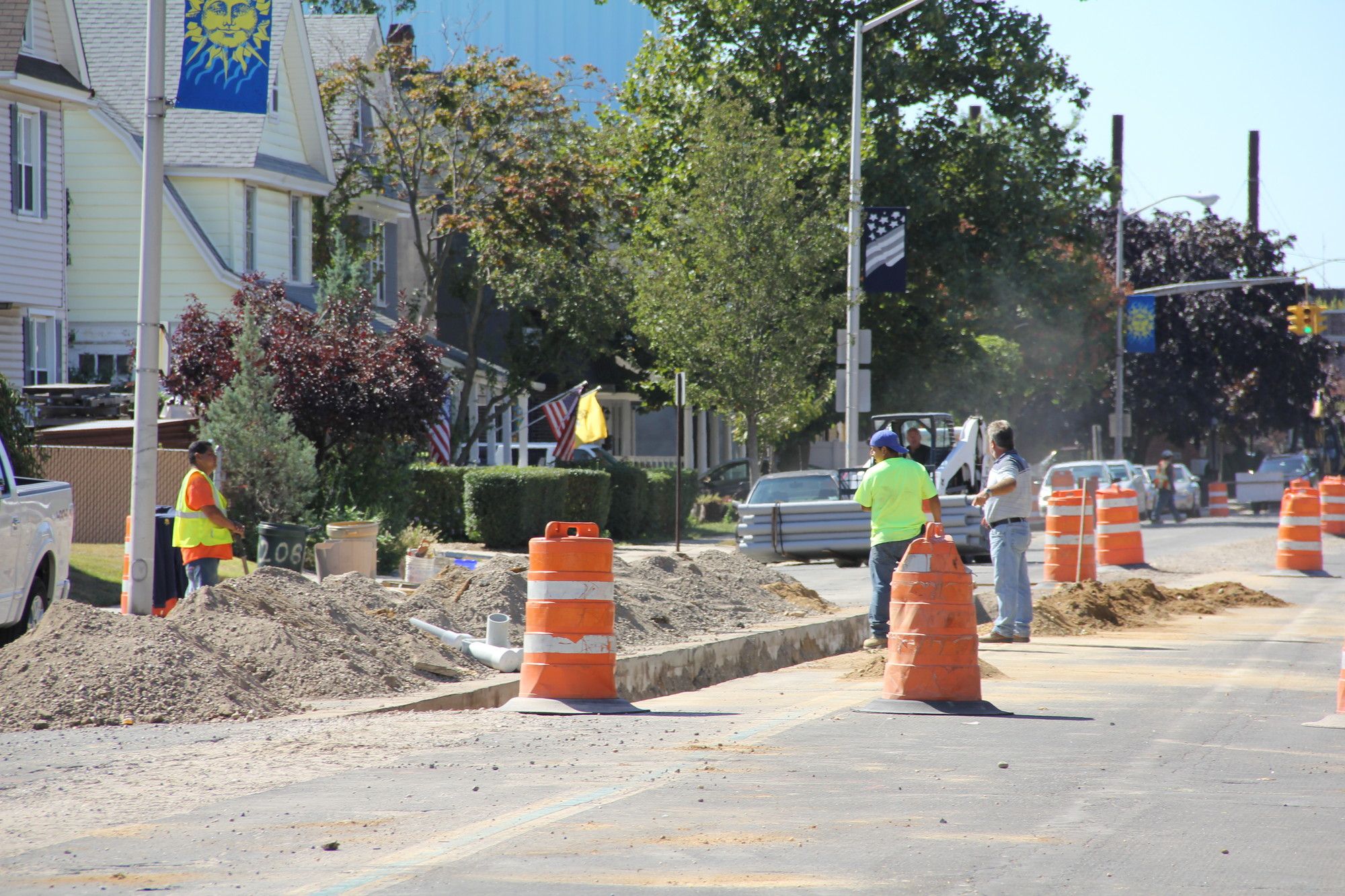 Workers have been tearing up Maple Avenue for months. Unmapped pipes and electrical lines have slowed the construction process.
