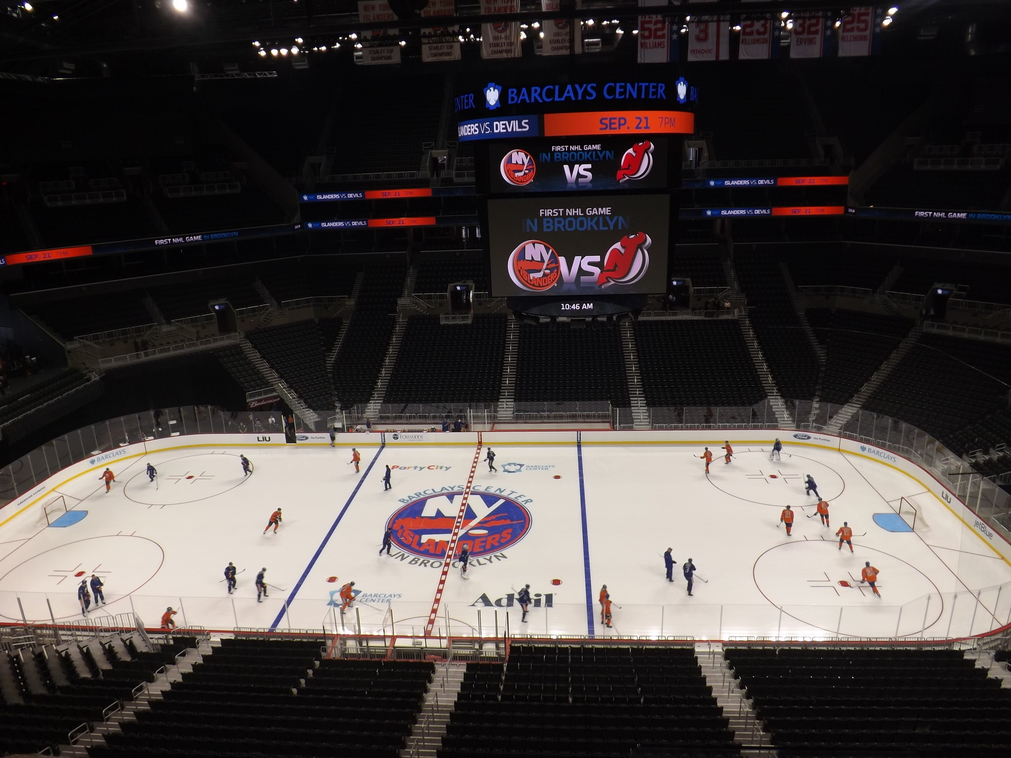The New York Islanders opened training camp on Sept. 12 in the Barclays Center in Brooklyn. The team is moving into the arena in 2015.