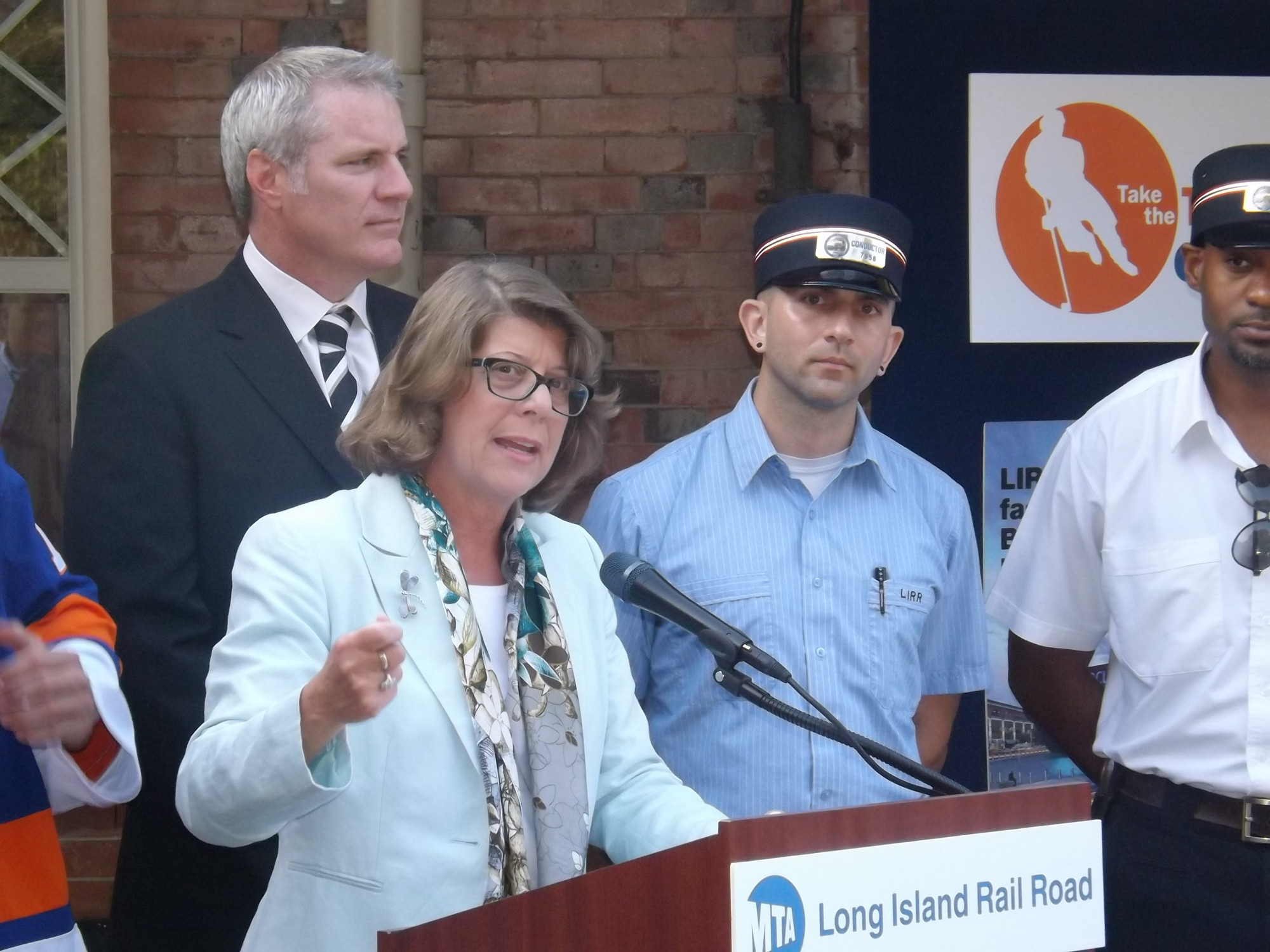 Helena Williams, president of the Long Island Rail Road, welcomed the Islanders to the LIRR station in Garden City before the team took the train into Brooklyn.