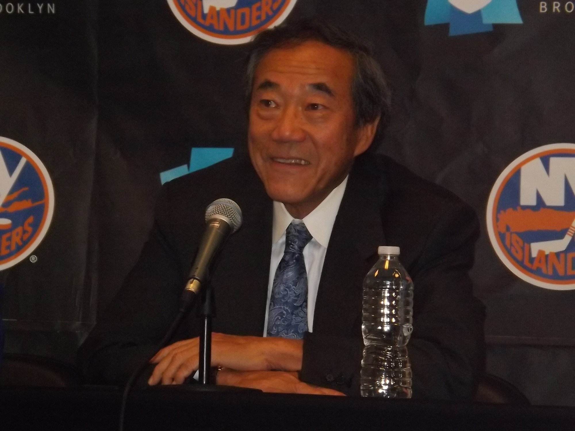 Islanders owner Charles Wang was happy seeing his team on the Barclays Center ice for the first time.