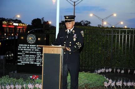 John Fabian, an ex-chief of the Merrick Fire Department, led a brief ceremony that the department conducted on Sept. 11 at its memorial on Merrick Avenue and Sunrise Highway to commemorate the lives of 9/11�s victims, including Ronnie Gies, another department ex-chief, and Brian Sweeney, a department ex-captain.