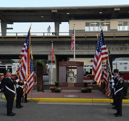 The Bellmore Fire Department's annual Sept. 11 memorial service was held near monuments outside department headquarters.