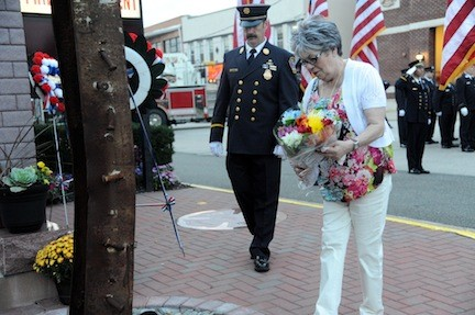 Mary Ann Rand paid homage to her son, Bellmore firefighter Adam Rand, who was killed in the World Trade Center attacks.