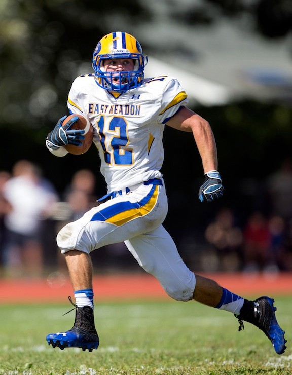 East Meadow's Nick Suchocki did his part in last Saturday's 48-40 loss at Massapequa, scoring a pair of touchdowns in the shootout.