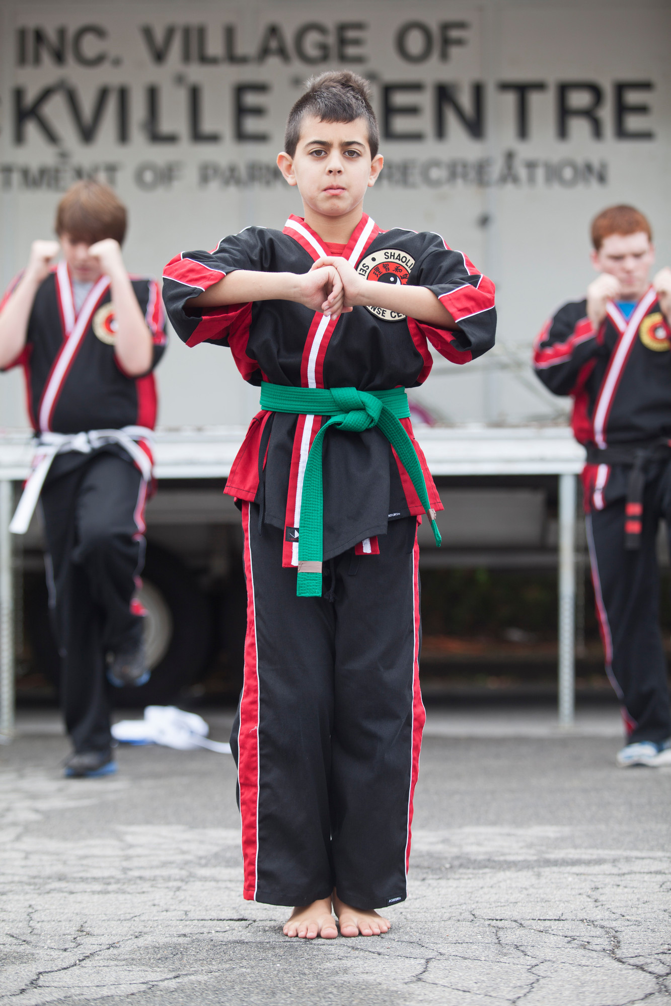 Reece Kaufman, 11, showed of his martial arts skills during a demo.