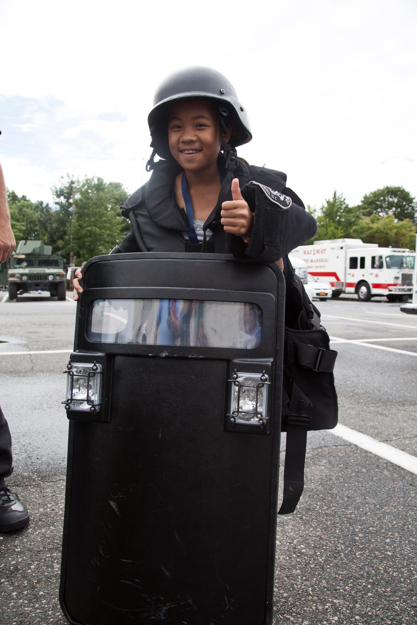 Valerie Hoffer, 10, donned some police riot gear.