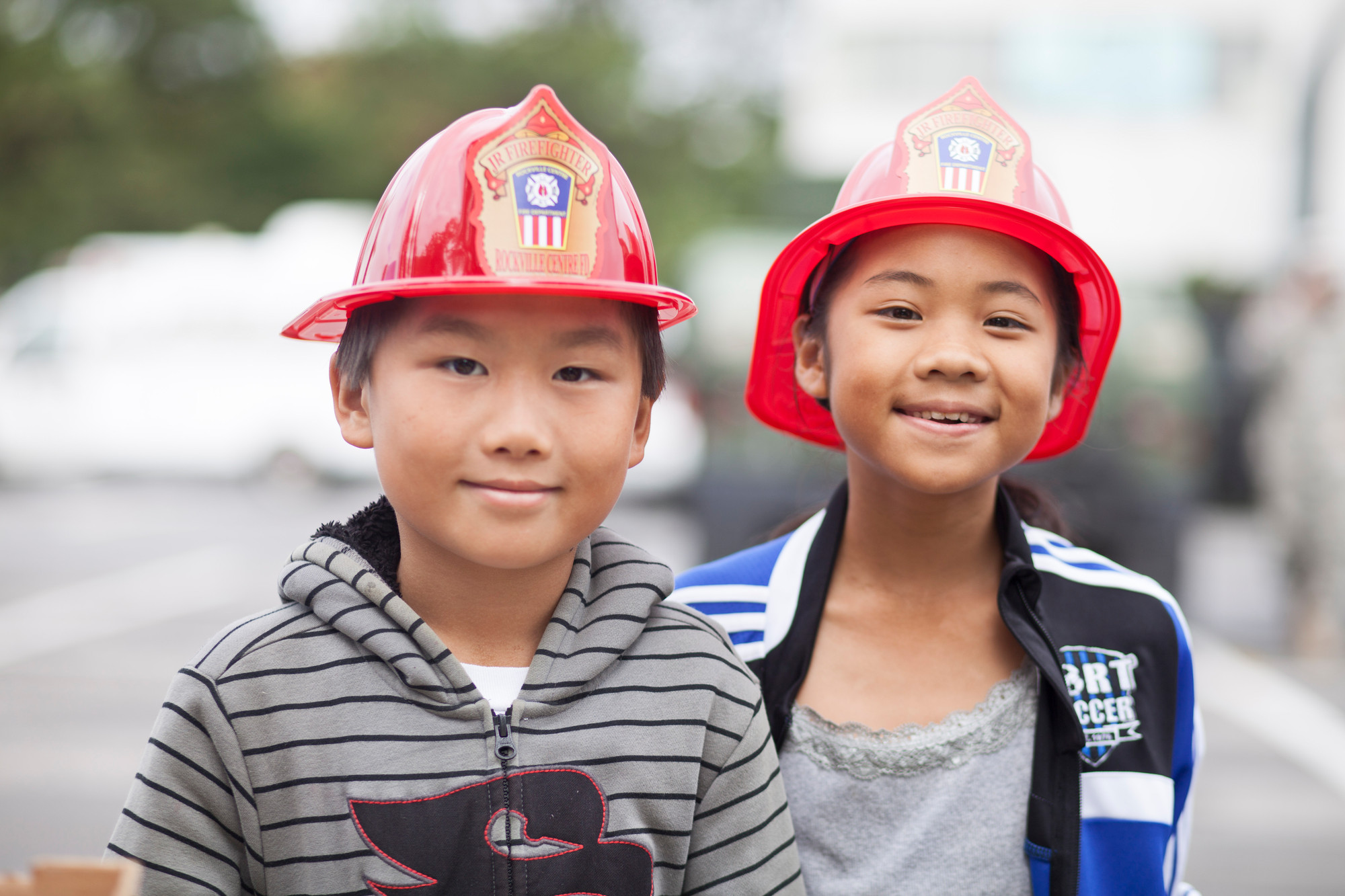 Joey and Valerie Hoffer showed their community spirt in with their official Rockville Centre Junior Firefighter hats.
