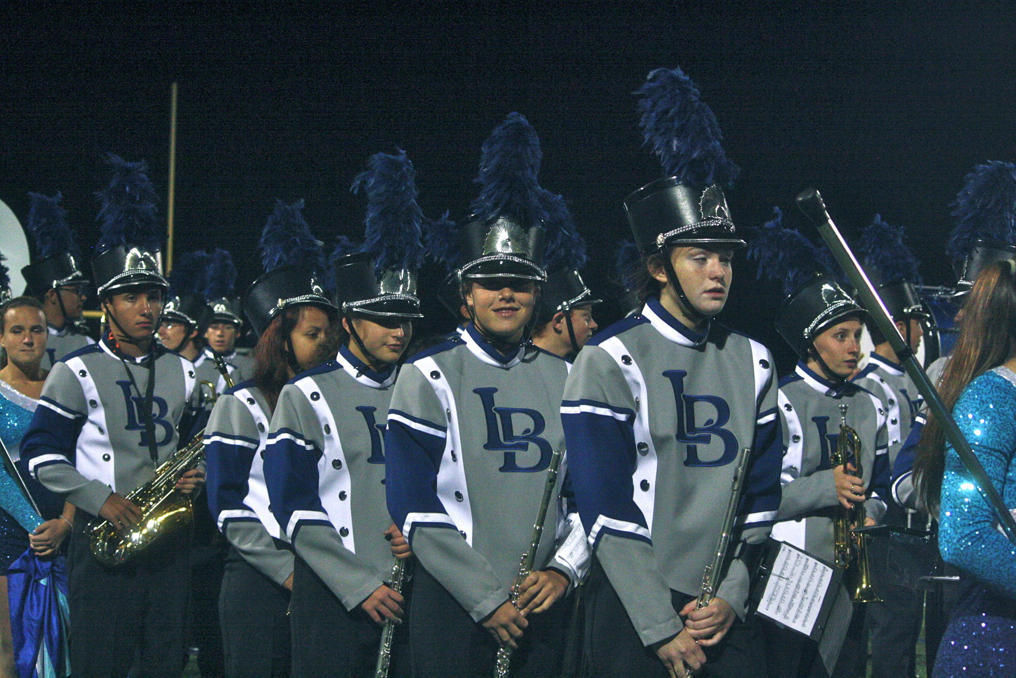 The marching band looked sharp for their halftime performance, titled