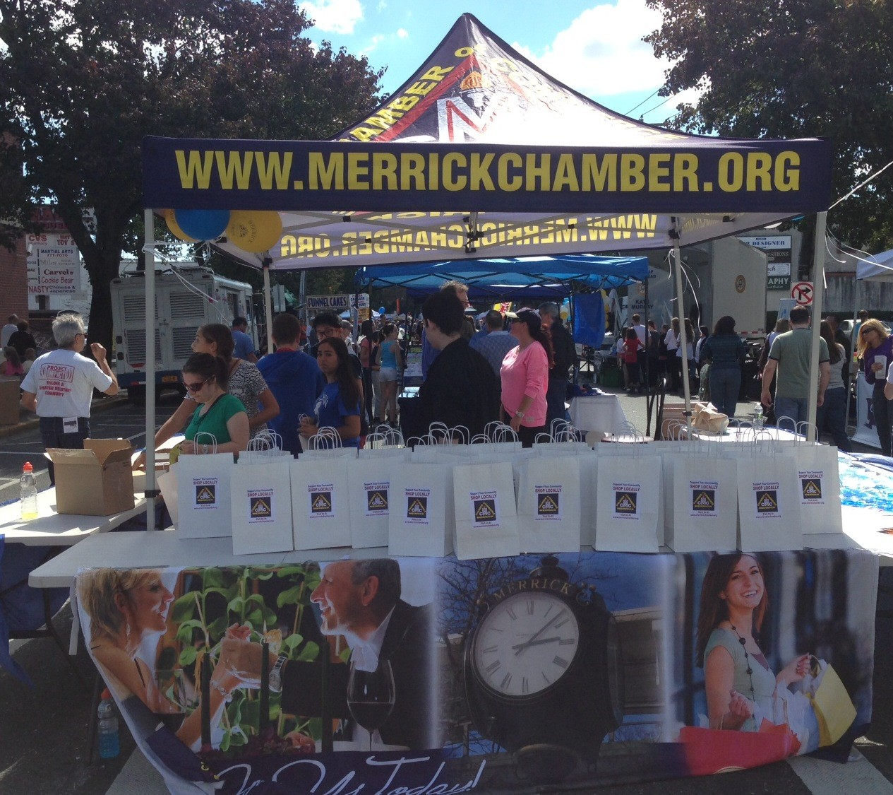 The Merrick Chamber of Commerce handed out a thousands goodie bags with coupons and giveaways from local businesses during the fair.