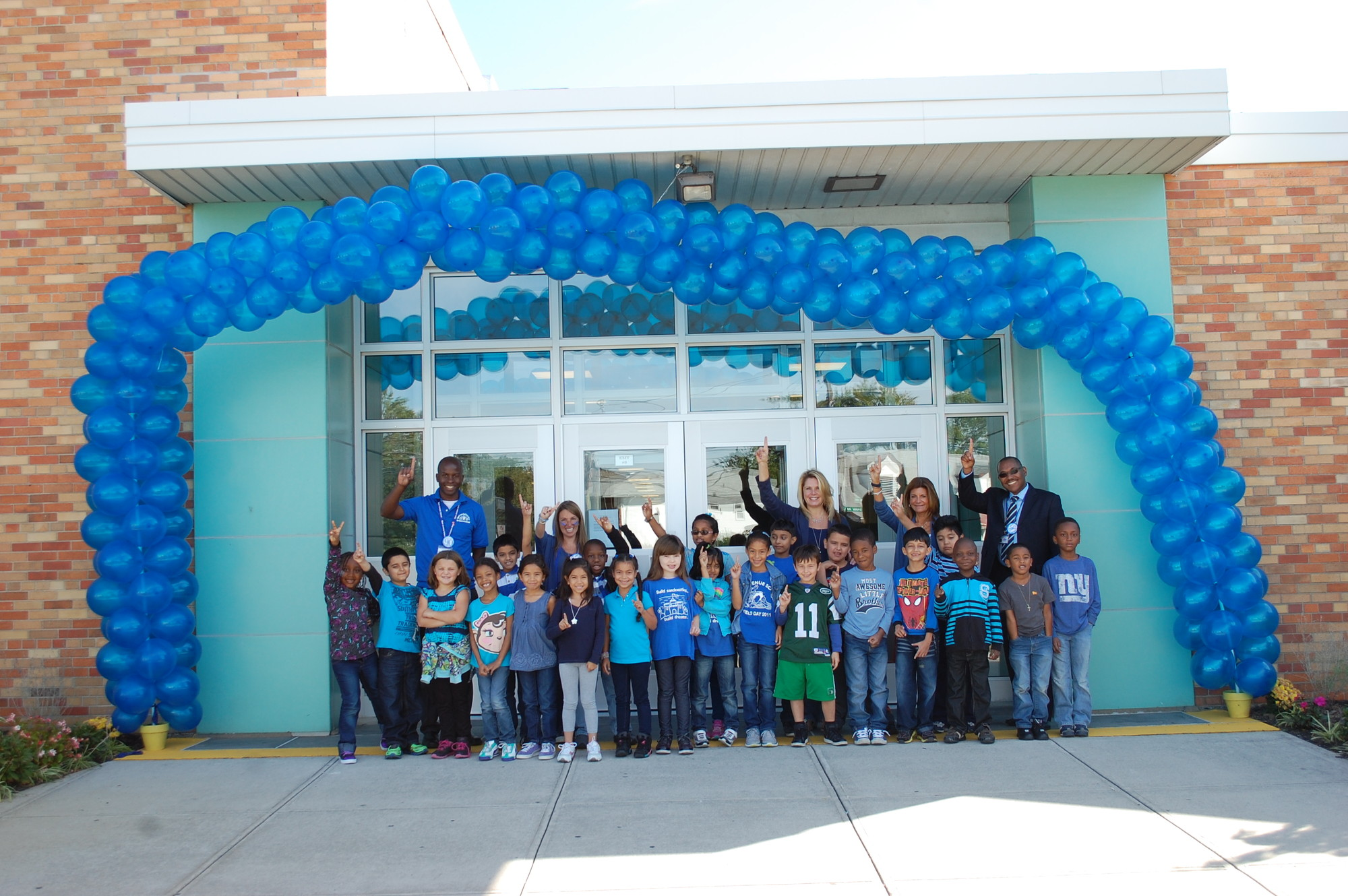 Students and staff at Shaw Avenue School dressed in their new favorite color following the announcement that the school earned a Blue Ribbon Award from the United States Department of Education.