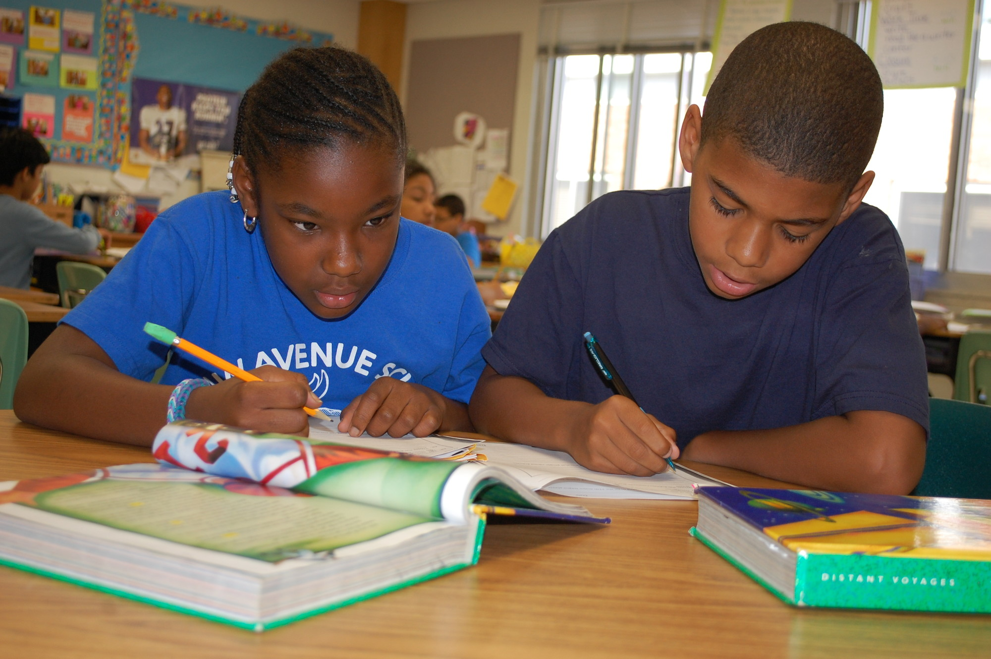 Fifth-graders Jade Jacques, left, and Justice Byrd were hard at work on Sept. 25, ensuring that the school keeps up its tradition of academic excellence.