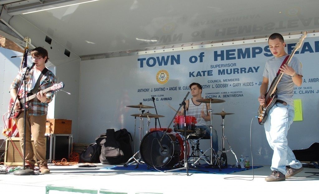 One of the first performances of the day on the Town of Hempstead showmobile was local band Schoeffel. From left are guitarist and lead singer Austin Schoeffel, drummer Michael Gallagher and bass guitarist Brandon Mirth.