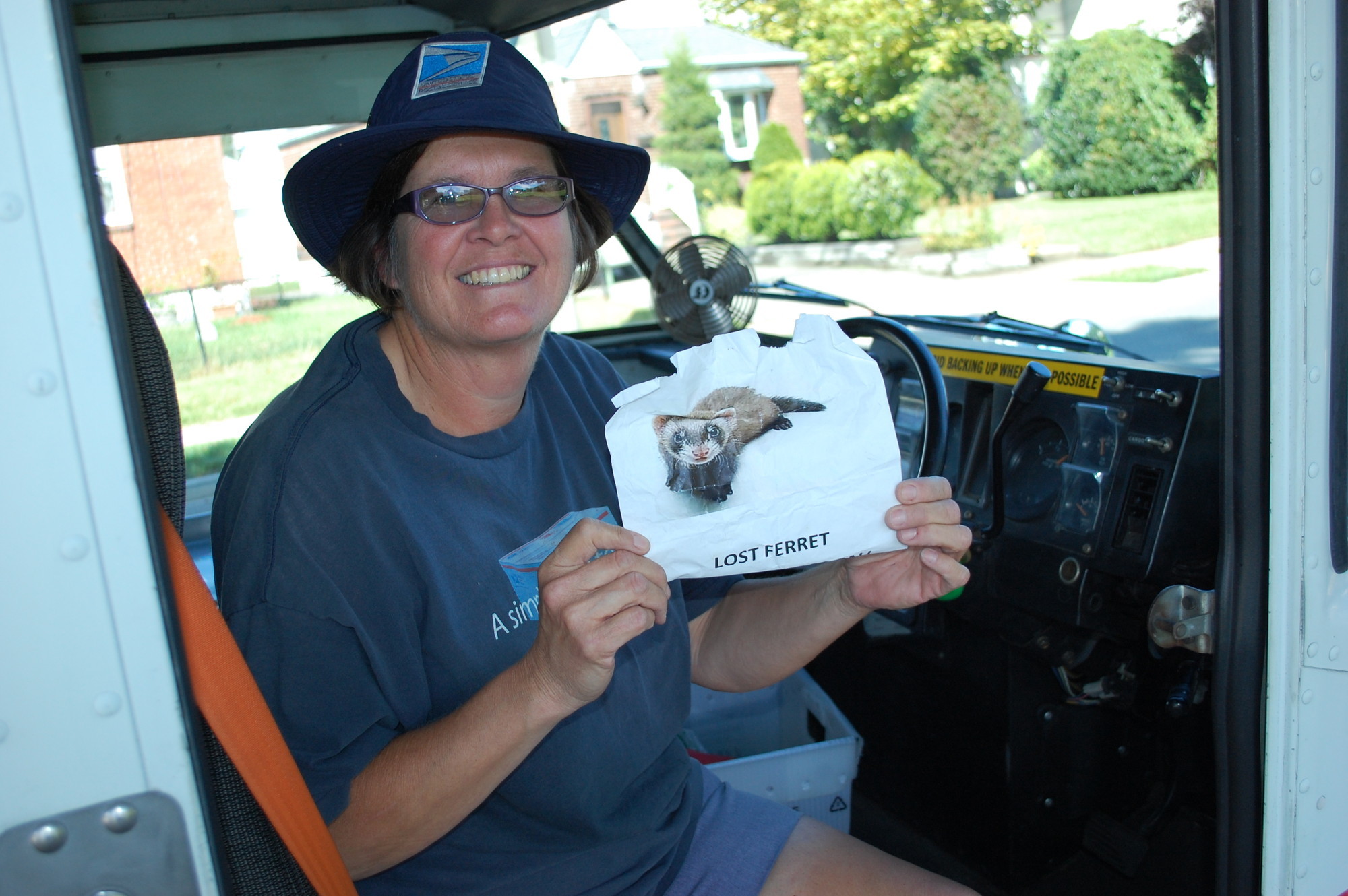 Valley Stream postal worker Patty Mezynski, after seeing fliers around the neighborhood, helped reunite a lost ferret with its owner.