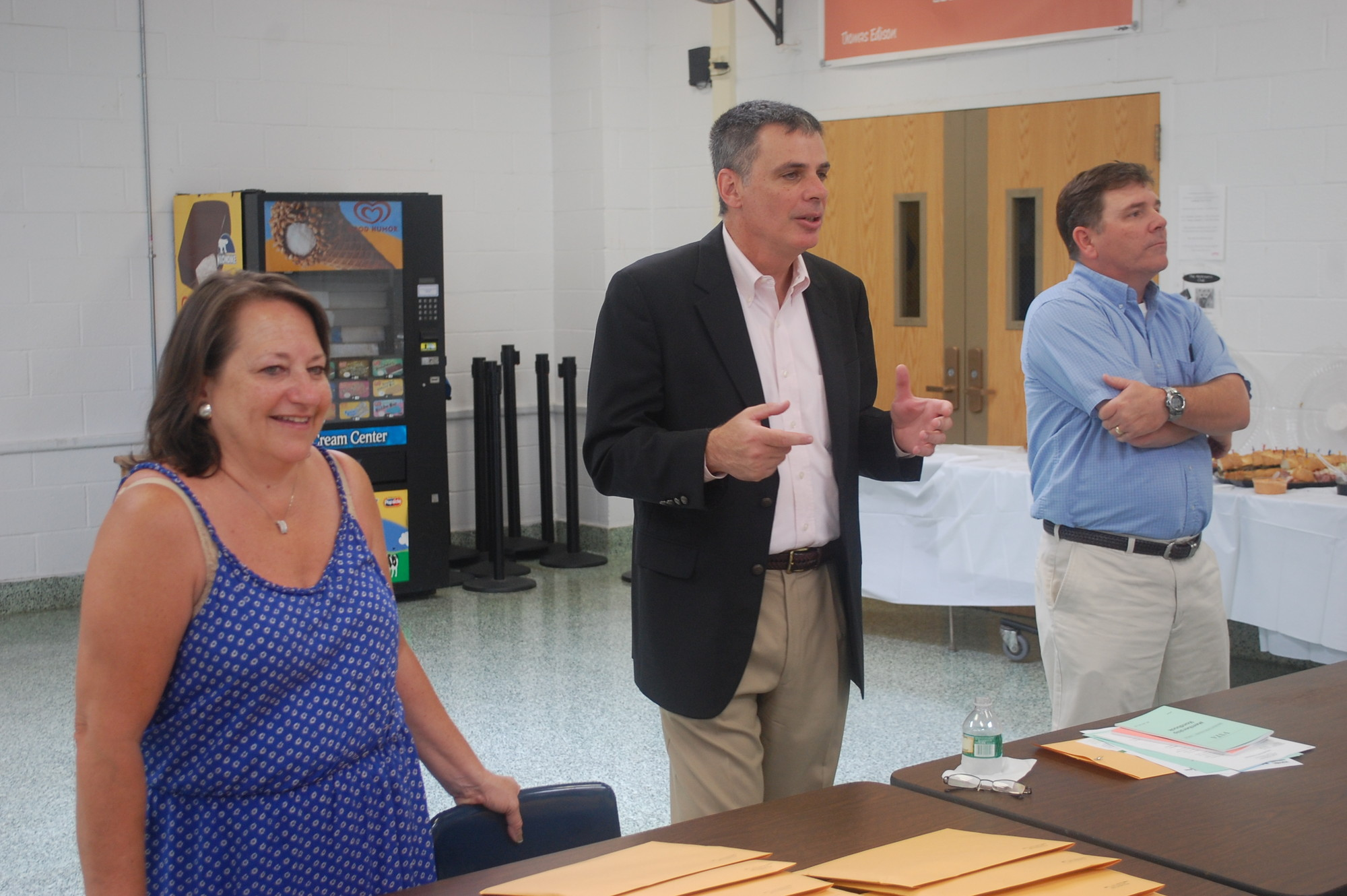 Valley Stream Teachers Association President Patrick Naglieri, center, was joined by union vice presidents June Innella and Richie Adams at new-teacher orientation in August.