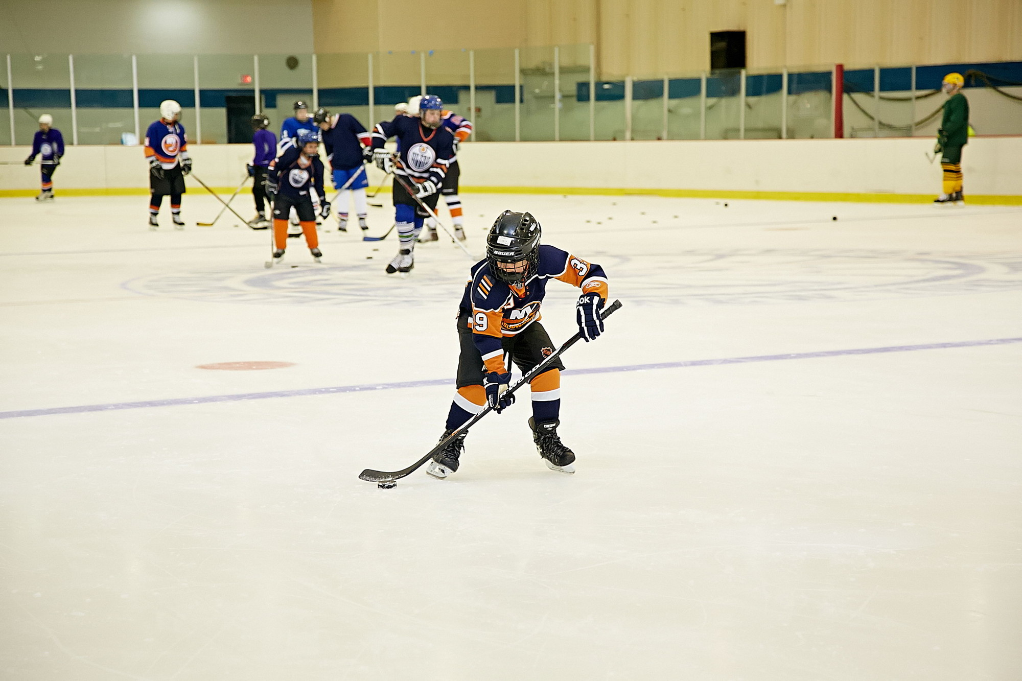Stick handling is one of the many skills Hebrew Hockey League players learn during the two hours sessions.