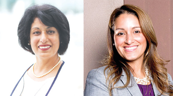 Nasrin Ahmad, left, and Jasmine Garcia-Vieux, right, are running for the Town of Hempstead clerk's position,