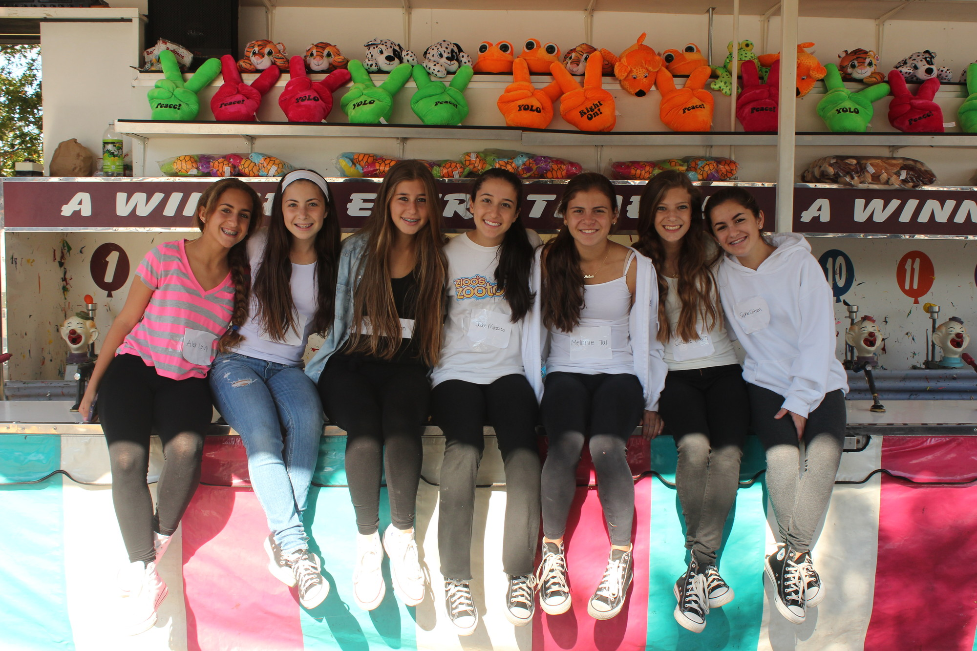 Volunteers from Hewlett High School's Youth Leadership Forum helped out at the festival. From left were ninth-graders Alex Levy, Jordanna Yochai, Rebecca Kreisman, Jackie Mazzeo, Melanie Tal, Colette Davies and Sophie Cohen.