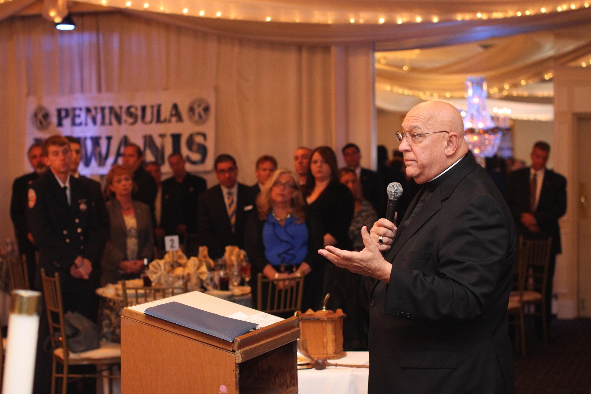 Msgr. Paul Rahilly of St. Joachim R.C. Church of Cedarhurst delivered the invocation at the Peninsula Kiwanis Humanitarian Night.