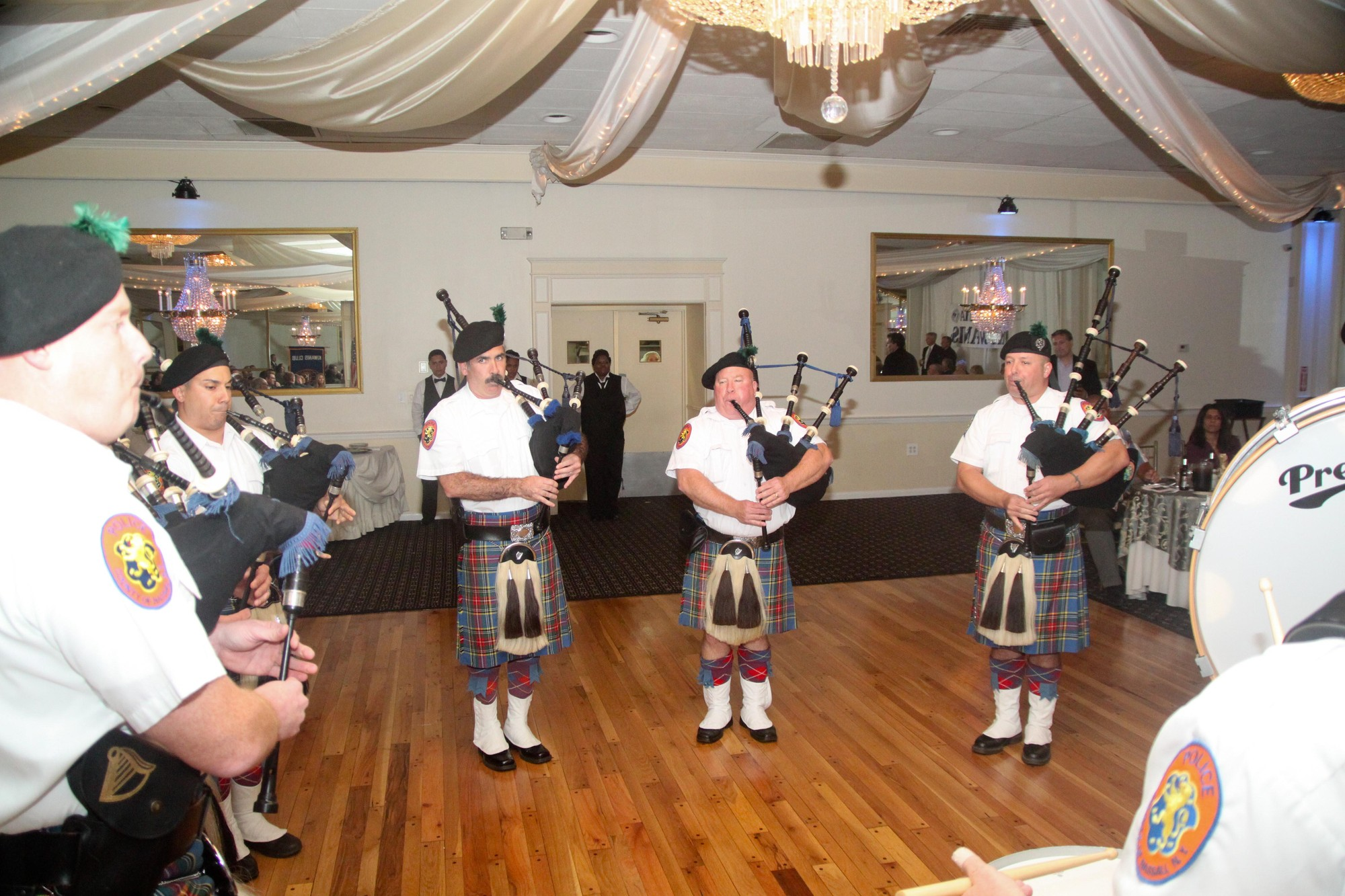 The Nassau County Police Department Pipes and Drums band performed at the dinner.