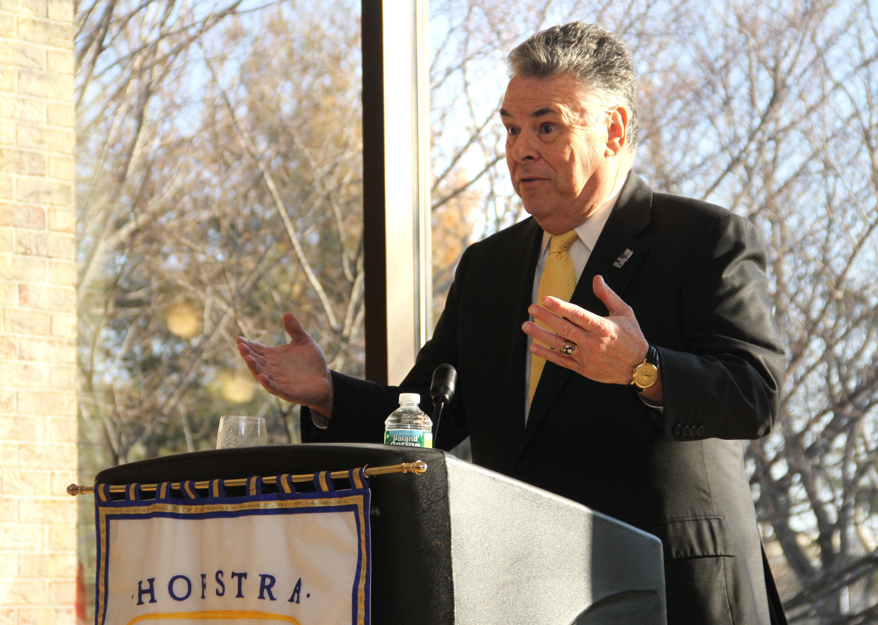 Republican Congressman Peter King, speaking at Hofstra University in March, opposed the House Republican leadership, whom many blame for the shutdown, after Democrats rebuffed Republican demands to delay implementation of the Affordable Health Care Act.