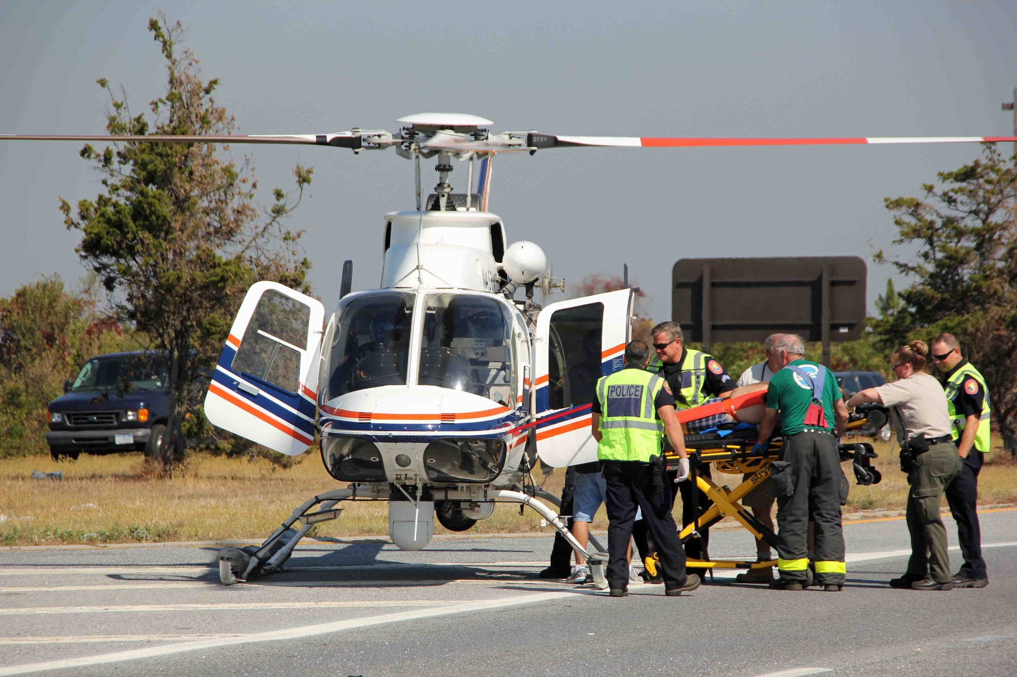 The Loop Parkway was temporarily closed in order to airlift an injured motorist to NUMC.