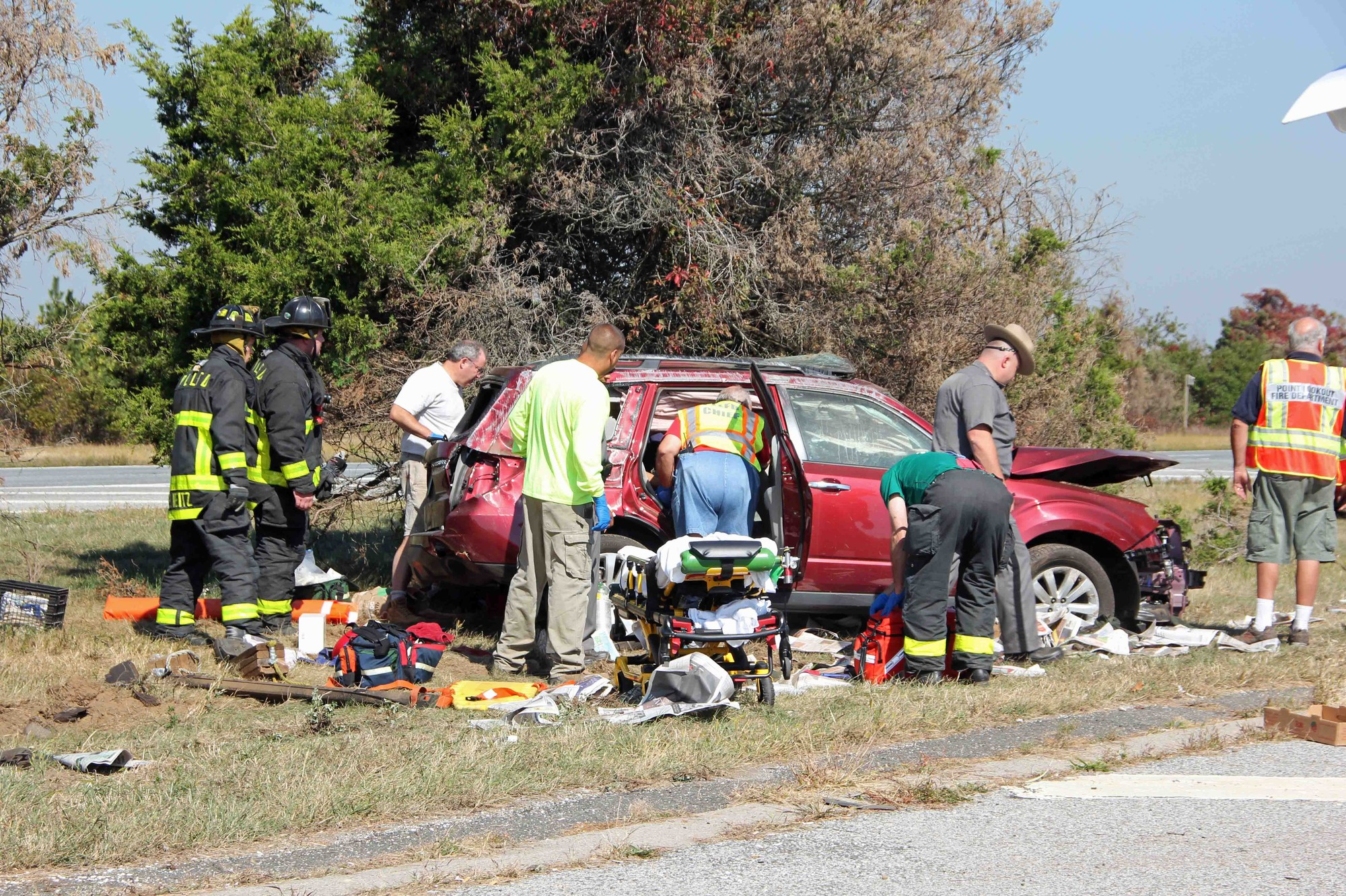 The driver sustained serious injuries, fire officials said.