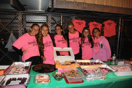 Members of the Kennedy High School junior-varsity soccer team helped out with the fundraiser.