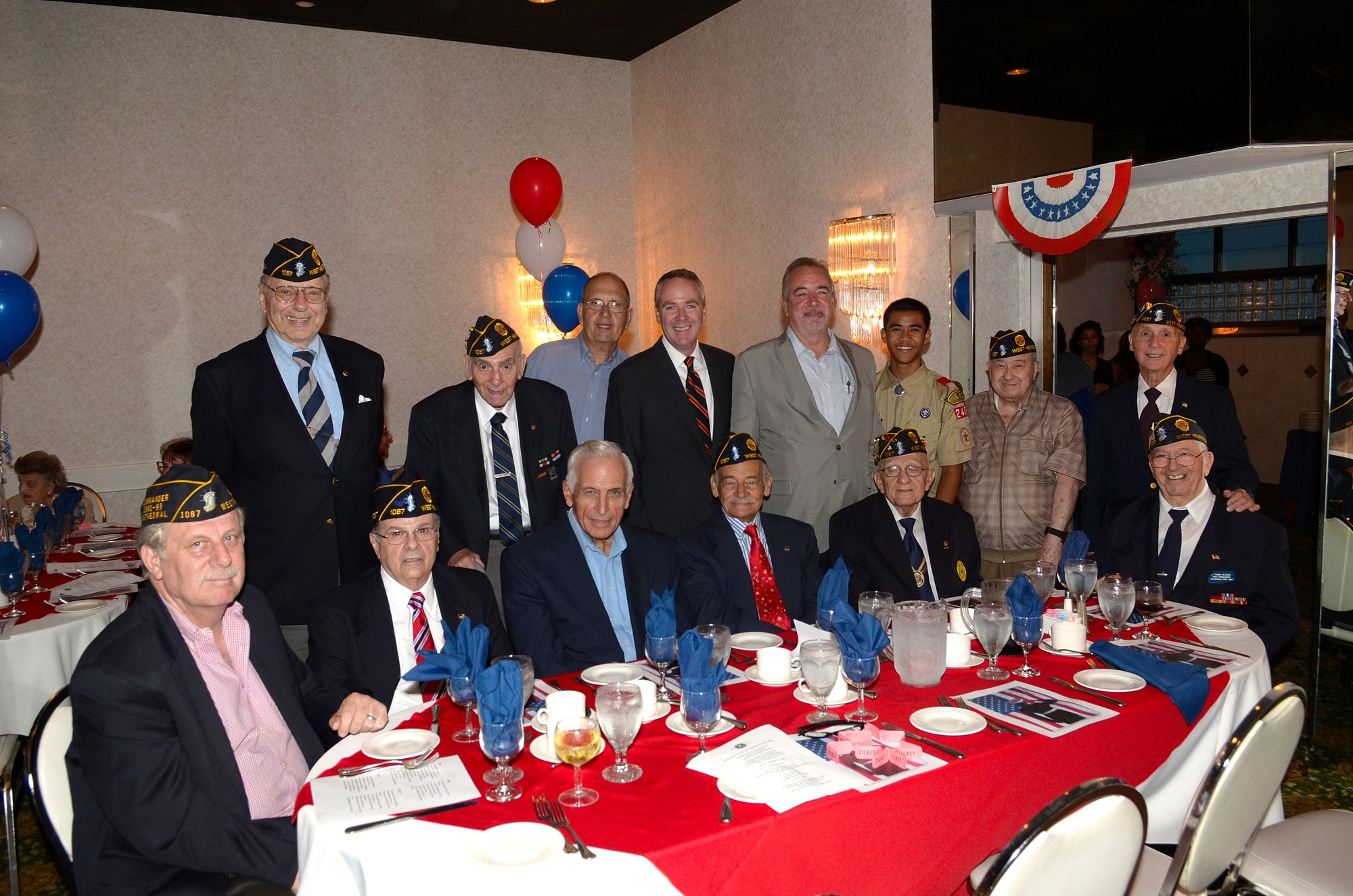 Hempstead Town Receiver of Taxes Don Clavin, fourth from left, standing, back row, with American Legion Post #1087 Commander Edward Giacin, West Hempstead Kiwanis President George Silks, Louis Siciliano, Frank Celenza, Emedio Torre, Cristopher Gabayan, Paul Bonfiglio, John Shaud, Charles Forzano, Richard Daig, Jim Witter and Mike Guerriero.
