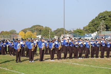 "The Central marching band performed songs to the theme ""Sounds like the '70s."""