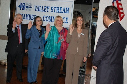 Mayor Ed Fare swore in Chamber of Commerce officers, from left, Executive Vice President Elliott Rosenbaum, President Debbi Gyulay, Secretary Lisa Norwich and Treasurer Jaime Grasso at the annual gala on Sept. 26. Not present was Vice President Jules Rabin.