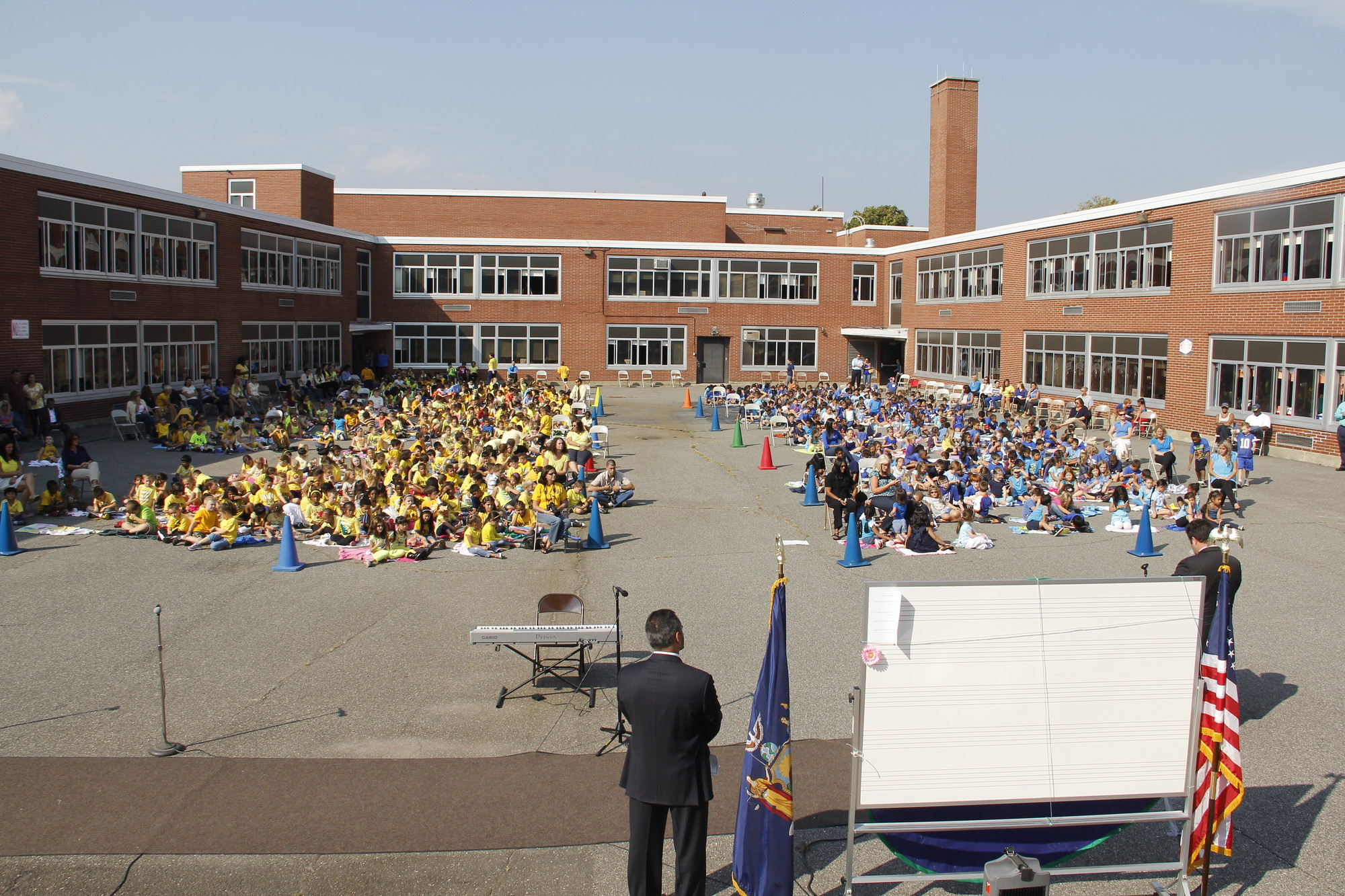 Barnum Woods Students wore blue and yellow