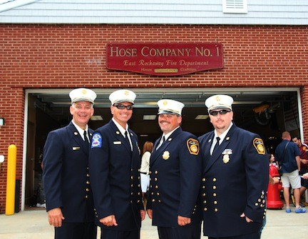 The East Rockaway Fire Department chiefs attended and hosted the Expo at Hose Company 1. Pictured were 1st Assistant Chief Jim Henshaw, Chief Ed Reicherter, 2nd Assistant Chief Thomas Johnson and 3rd Assistant Chief Gene Torborg.